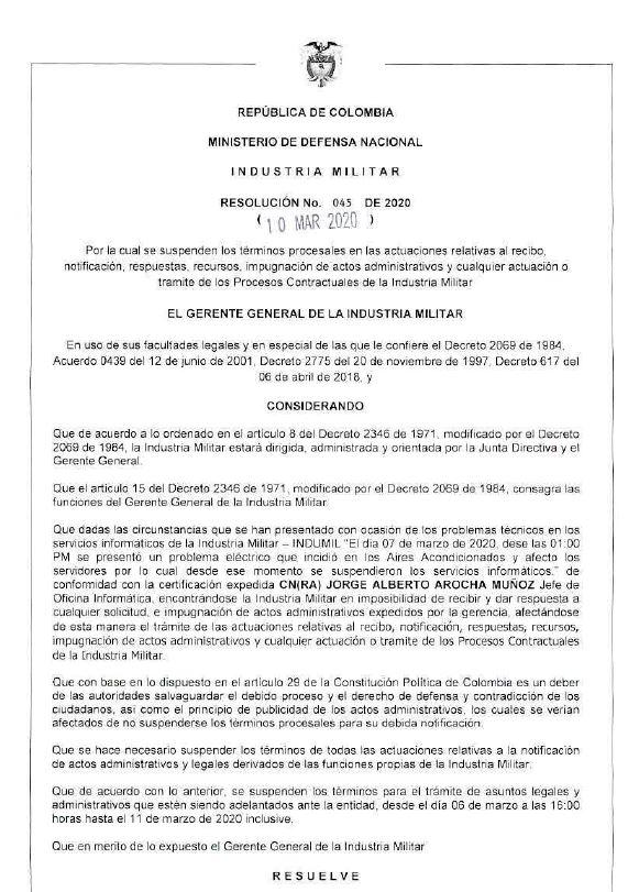 Resolución 045 del 10 de Marzo de 2020